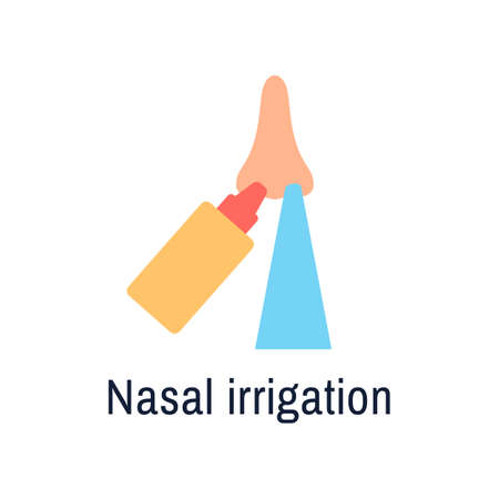 Nasal wash flat icon isolated on white background. Nose cleaning with saline to protect PM2 5.