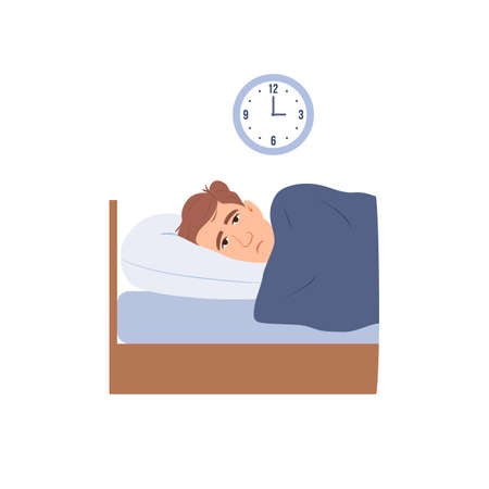 Man with insomnia flat isolated icon. Sleepless person cartoon character suffer. Face with open eyes in darkness night lying on bed concept Sad male awake tired can't dream problem vector illustration