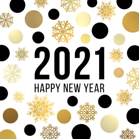Happy New Year 2021 banner design. Festive greeting card. Black and gold glowing light shining circles snowflakes pattern. Christmas decoration with celebrating text. Bright golden vector illustration
