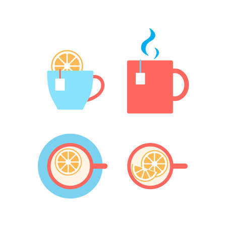 Cup of tea with lemon flat icon isolated on white. Mug of herbal or green drink symbol. Hot brewed bag tea beverage. Breakfast morning time relax. Top, front view Flat design vector illustration. Stock Illustratie