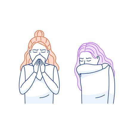 Cough sneeze into elbow flat icon. Sneezing woman covers mouth nose with tissue. Sick person coughs sneezes into upper sleeve, handkerchief. Flu virus cold good hygiene. Thin line vector illustration.