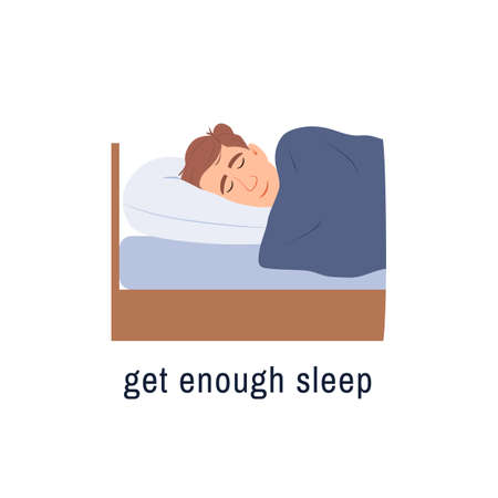 Sleeping man flat icon isolated on white background. Get enough sleep concept. Male person sleeps in bedroom. Healthy lifestyle Tired character has dream rest Cartoon people design vector illustration