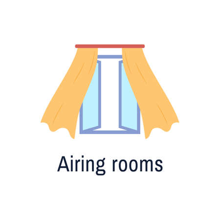 Fresh air flat icon isolated on white background. Open window with blown yellow curtains indoor view. Airing room concept design. Flu virus coronavirus infection prevention tip. Vector illustration.