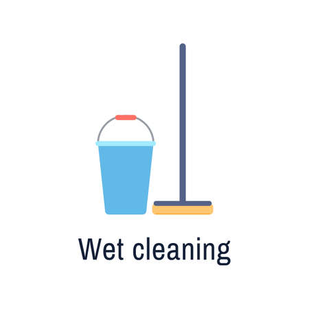 Bucket and mop flat icon isolated on white background. Cleaning service housework tools. Brush pail for floor washing. Wet cleaning or symbol. Housekeeping hygiene vector illustration.