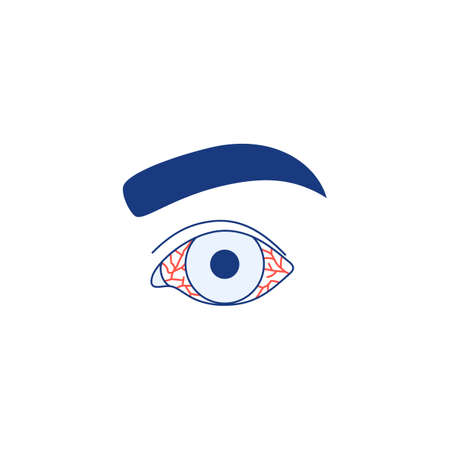 Conjunctivitis icon isolated on white background. Watery red eye Thin line . Viral infection season allergy eye disease virus inflammation symptom Outline ophthalmology medical vector illustration