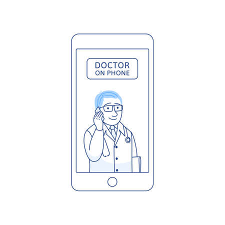 Doctor on phone thin line icon isolated on white background. Male therapist with cell phone. Smartphone consultation. Online doctor concept for medical app website Outline medicine vector illustration Stock Illustratie