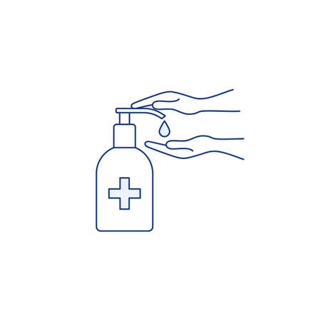 Hand sanitizer bottle thin line icon. Hand palms washing gel. Epidemic hygiene precautions. Antibacterial liquid. Virus infection prevention. Health safety. Outline vector isolated on white background Stock Illustratie
