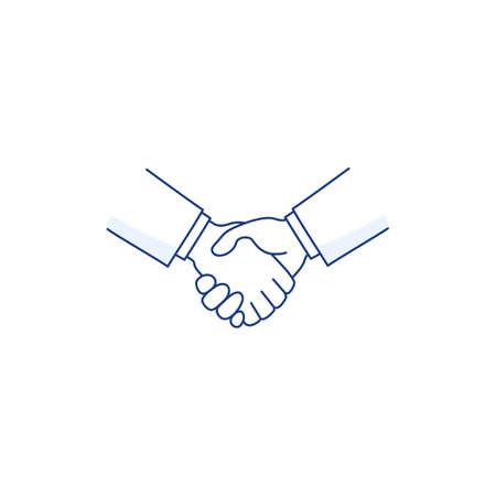Handshake thin line icon isolated on white. Deal agreement partnership symbol. Men shaking hands. Business partners greeting. Hand shake  people friendship sign. Vector outline style illustration. Ilustração