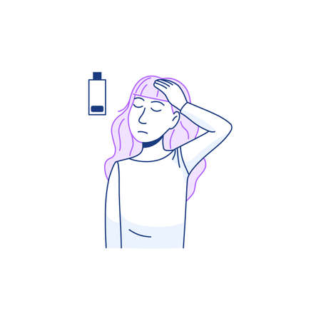 Young sick woman has headache icon isolated on white background. Thin line stressed female person portrait with head pain or migraine. Tired character sad face sign. Outline health vector illustration