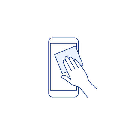 Phone surface disinfection thin line icon. Mobile phone with virus germs. Outline human hand clean disinfect the device with disinfectant wipes. Cleaning gadget concept Isolated vector illustration Ilustração