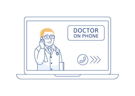 Doctor on phone thin line concept. Online medical consultation support internet diagnosis. Telemedicine web communication. Therapist with mobile phone laptop. Outline health care vector illustration.
