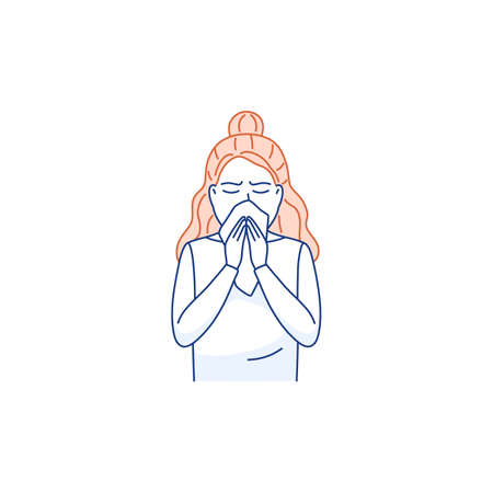 Sneezing woman covers mouth nose with tissue isolated on white. Cough, sneeze into a handkerchief thin line concept. Respiratory hygiene icon Flu virus cold allergy symptom Medical vector illustration Ilustração