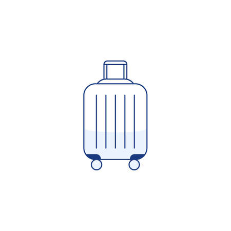 Blue travel plastic suitcase thin line icon with wheels handle isolated on white background. Outline luggage sign . Trip vacation element design Baggage symbol icon infographic vector illustration