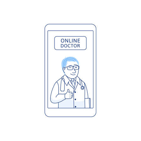Online doctor. Thin line flat concept. Young doctor with ok hand gesture mobile phone. Telemedicine internet consultation service icon in blue colors for app banner design. Medical vector illustration