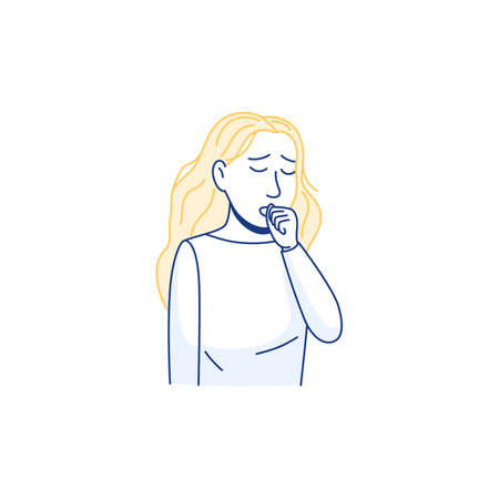 Young woman coughing into fist in front of mouth. Isolated flat line icon infographic. Sick person cough. Influenza virus allergy flu cold disease symptom. Outline health safety vector illustration. Ilustração