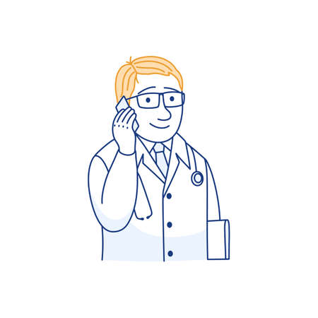 Mobile phone medical consultation thin line icon. Telemedicine concept. Male doctor prescribes treatment. Therapist using smartphone to call patient. Medical care service outline vector illustration.