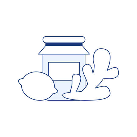 Natural medicine design isolated thin line icon. Natural treatment sign. Lemon ginger berry jam honey. Flu, cold medicine. Organic health care product Virus prevention outline vector illustration Ilustração