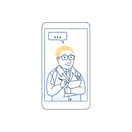 Male therapist on chat in smartphone messenger online consultation. Ask doctor concept with checklist. Online medical advise consultation service tele medicine cardiology Flat line vector illustration