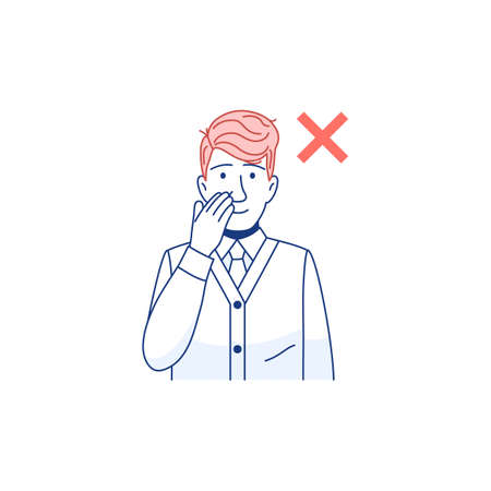 Avoid touching your face line flat icon. Man touch his face with his hand. Flu or cold coronavirus virus prevention protection concept. Respiratory infection transmission. Outline vector illustration.