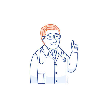 Smiling young male doctor thin line portrait in glasses in white medical uniform and stethoscope with thumb up warning hand gesture look at camera, happy man GP physician. Outline vector illustration. Ilustração