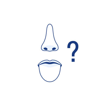 Protruding tongue mouth nose line icons isolated on white background. Smell and taste sense loss concept, question mark. Flu virus cold coronavirus runny nose symptom sign. Outline vector illustration Ilustração