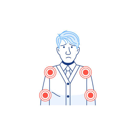 Young sick man has muscle pain symptom. Line character icon isolated on white. Infected sick person with body aches. Arms joint shoulder, elbow pain. Coronavirus flu cold medical vector illustration. Ilustração