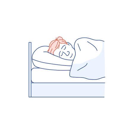 Sleeping man flat line icon isolated on white