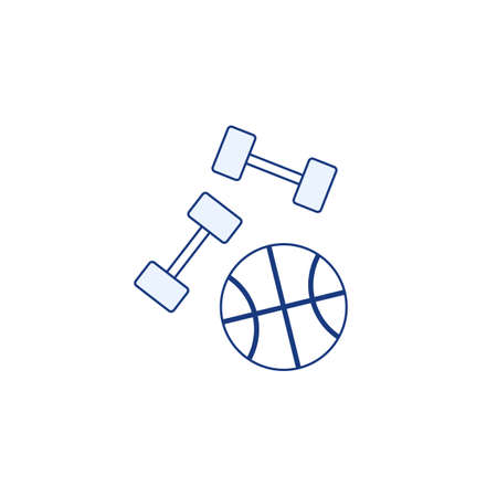Dumbbells and basketball ball flat line icon isolated on white background. Gym fitness active lifestyle  sign. Sport equipment color symbol. Healthy element outline design vector illustration.