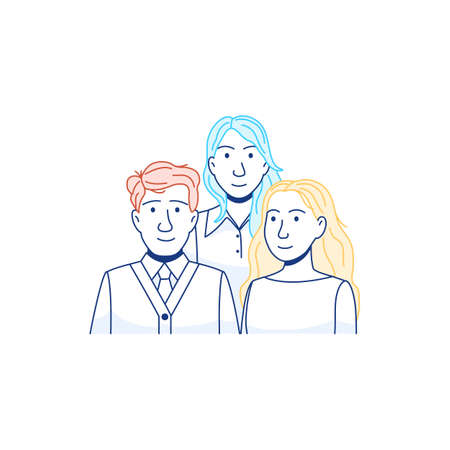 Group of young people line icon isolated on white background. Flat young adults persons. Man woman portraits characters. Students community Male female team icon Outline crowd sign vector illustration