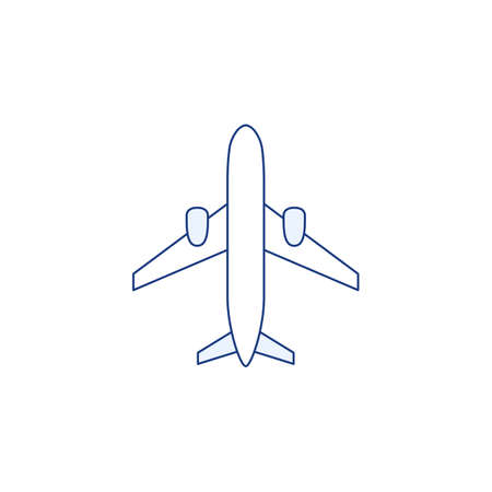 Thin line plane icon isolated on white background. Color flat airplane sign or design. Travel symbol set. Flight aircraft transportation aviation concept. Outline minimal vector illustration.