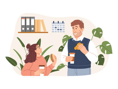 Young man woman have a business lunch time at office. Flat people dining, having a coffee break together concept. Smiling characters eating meal sandwich croissant coffee. Cartoon vector illustration Ilustração