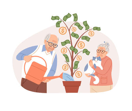 Elderly couple watering potted money tree, coins, dollars. Pension fund saving plan concept. Aged people retirement planning. Happy pensioners with cat. Seniors characters cartoon vector illustration.