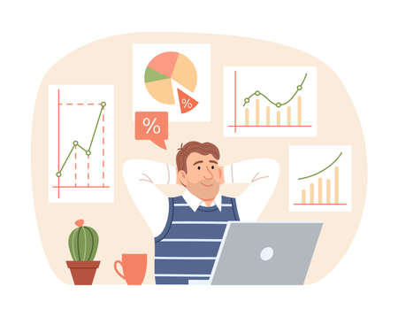 Investment strategy concept. Flat business man thinks about profit growth on finance graph, chart, diagram background. Dreaming manager character with laptop. Cartoon market share vector illustration.