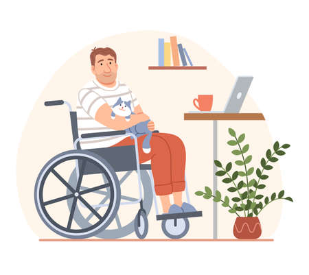 Young disabled person in wheelchair with cat and laptop on workplace. Cartoon handicapped man character takes a break from distant work from home. Flat people disability concept vector illustration.