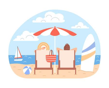 Sunbathing couple man, woman with beach umbrella, deck chairs relax at blue ocean seaside landscape. Summer family holidays. Cartoon vacation season sea leisure concept Flat travel vector illustration Ilustração