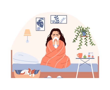 Sick person on bed with blanket treatment. Flat common cold flu virus concept. Sneezing woman blow nose. Character has influenza infection cough runny nose fever. Medical cartoon vector illustration.