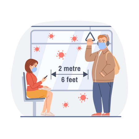People in masks man, woman ride in public transport subway, metro, bus, train. Social distance 2m concept. Flat male female character design. Cartoon flu virus infection prevention vector illustration