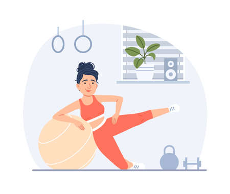 Flat young woman doing fitness with fit ball in gym. Healthy lifestyle sport training concept. Cartoon active slim girl with athletic body exercising. Weight control female workout vector illustration