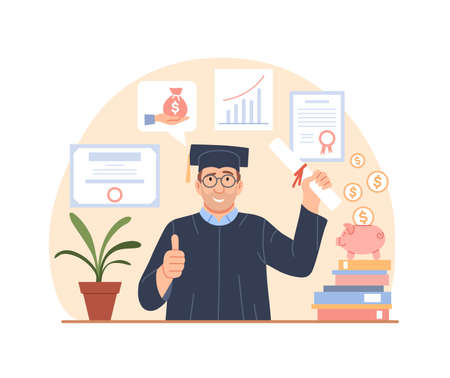 Tuition fees, grant loan concept. Investment in education. Flat graduate with diploma. Scholarship, educational fund, save money for college, university donate. Paid education cost vector illustration