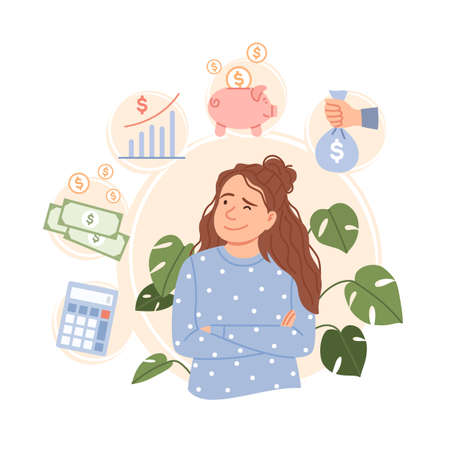 Salary increase concept. Finance control, income increment wages rise. Flat young business woman character dreams about pay money revenue earning profit growth Cartoon salary raise vector illustration