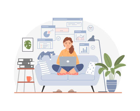 Working at home office concept. Freelancer workplace. Young middle aged woman with laptop. People use computer internet flat design. Cartoon character sitting on home sofa with cat vector illustration Ilustração