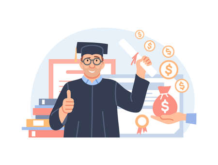 Investment in education concept. Study cash, tuition fees or budget, student grant. Cartoon graduate in graduation cap with diploma and money for college. Scholarship cost or loan vector illustration. Ilustração