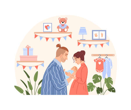 Happy family with newborn baby concept. Flat young couple mother father hug cute sleeping child son or daughter character on baby room background. Cartoon parents dad mom with kid vector illustration. Ilustração
