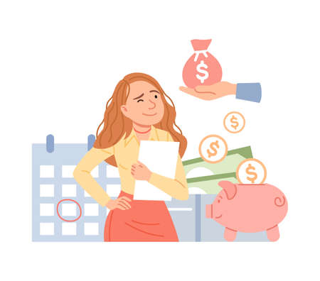 Salary increase concept. Financial income growth, cash payment, accounting service, tax pay, payroll. Cartoon woman calculates profit. Money management, budget planning, piggy bank vector illustration