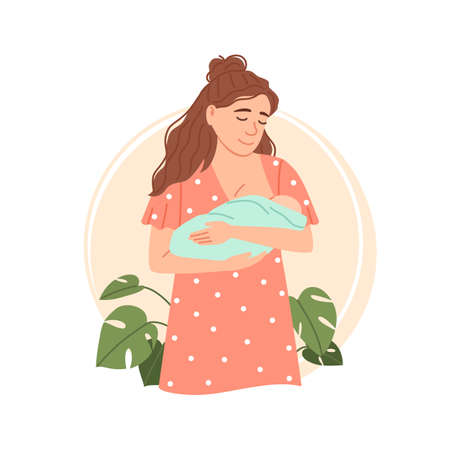 Young woman breastfeeding her newborn baby. Isolated flat mom holding and nursing her child in hands. Lactation concept. Breast feeding week, baby care. Infant drinks milk from mothers breast vector. Ilustração