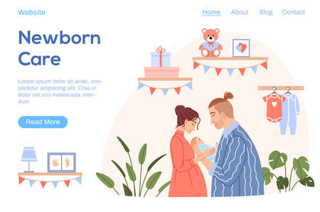 Happy family with newborn baby landing page. Flat young couple mother father hug cute sleeping child character on baby room background. Cartoon parents with kid website template vector illustration.