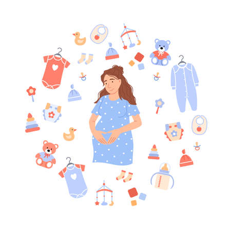 Flat pregnant woman on white baby background with child care items newborn toy, bib, pacifier, feeding bottle, rattle, diaper, clothes, nipple. Maternity concept design. Cartoon vector illustration.