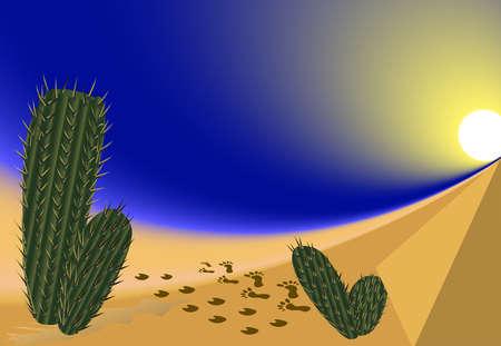 desert sand: Hot desert, sand, cacti Illustration