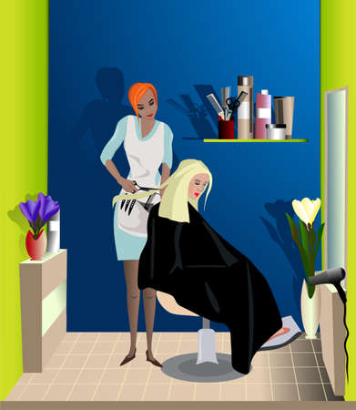 haircut: the hairdresser makes a fashionable haircut to the client