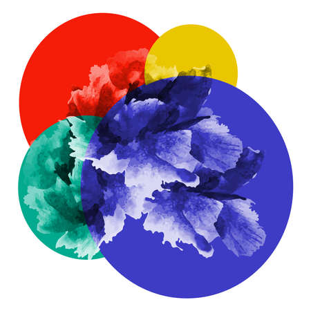 peonies: composition of colorful circles and a bouquet of peonies Illustration